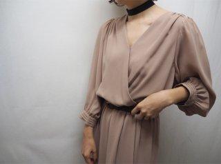 70s- Cocoa Beige Wrap Design Maxi Dress