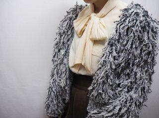 80s Black White Chunky Shaggy Knit Cardigan