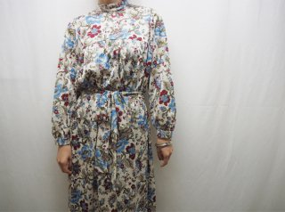70s- White Blue Floral Stand Collar Nylon Dress