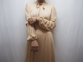 70s Champagne Beige Shirred Waist Maxi Dress