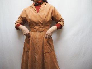 50s Orange Brown Corduroy Front Zip Dress
