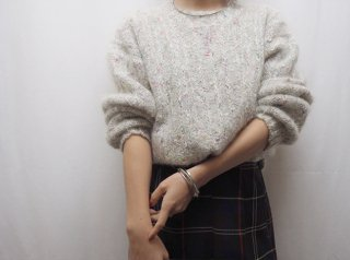 80s- Pale Glay Melange Mohair Knit Sweater