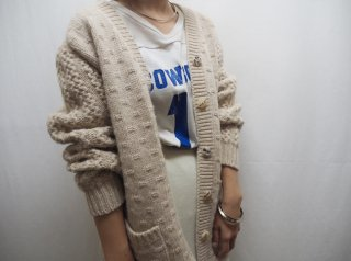 70s Ecru Chunky Cable Knit Cardigan