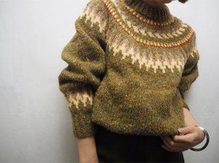 60s- Olive Green Nordic Knit Sweater