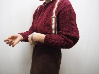 Vtg Burgundy Cable Handknit Sweater