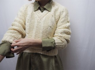 Ivory V Neck Handknit Sweater