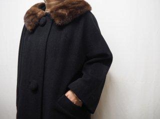 50s- Black Mink Fur 2way Roll Collar Swing Coat