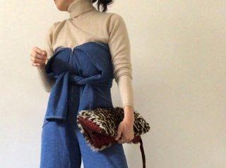 70s Blue Front Zip Wide Leg Jumpsuit