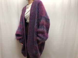 80s- Purple Gradation Mohair Knit Long Cardigan