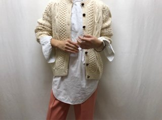 70s- Ivory Fisherman Knit Cardigan