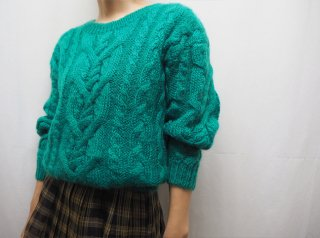 80s- Green Cable Mohair Knit Sweater