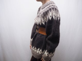 60s- Dark Brown Gray Nordic Knit Sweater