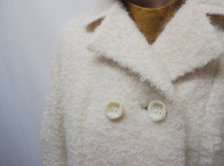 60s Ivory Double Breasted Poodle Wool Coat