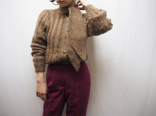 80s Brown Tie Melange Cable Knit Cardigan