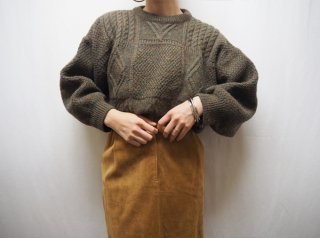 80s- Dark Green Cable Handknit Sweater