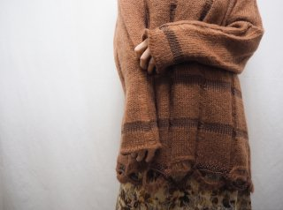 Brown Scallop Design Mohair Knit Sweater