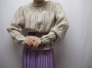 Oatmeal Crochet Knit Sweater