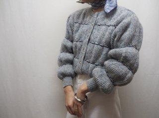 Navy Pom Pom Sleeve Melange Knit Cardigan