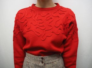 80s- Red Cord Embroidery Knit Sweater