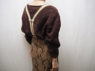 Red Brown Cropped Melange Knit Sweater