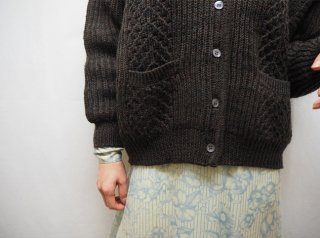 80s- Dark Brown Cable Knit Cardigan