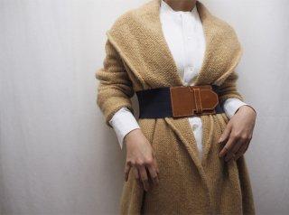 90s- Beige Shawl Collar Swing Knit Robe