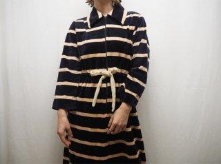 70s Navy Ecru Stripe Terrycloth Fabric House Dress