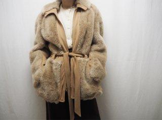 70s Beige Switching Design Faux Fur Jacket