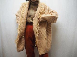 80s- Beige Fringe Shawl Collar Mohair Knit Cardigan