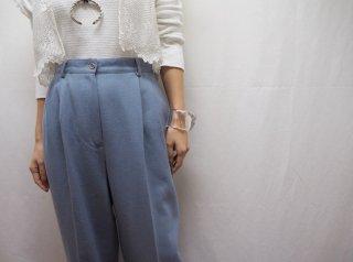 80s- Dusty Blue Tucked Wool Slacks