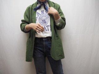 80s- Dark Green Linen Tailored Jacket