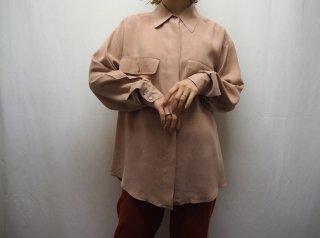 80s- Pink Beige Silk Shirt
