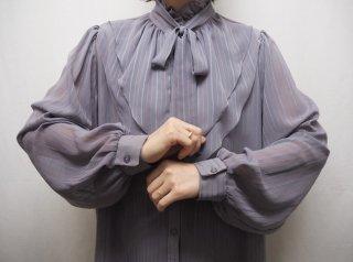 80s Lavender Gray Stripe Bow Tie Sheer Blouse