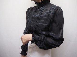 80s- Black Stripe Back Buttons Sheer Blouse