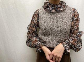 70s- Black Floral Pierrot Collar Sheer Blouse