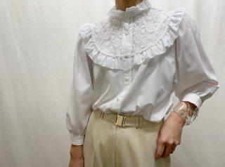 80s White Lace Bib Ruffle Collar Blouse