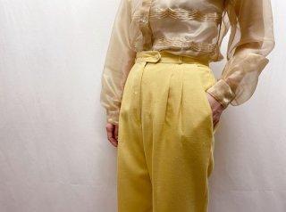 70s- Pale Yellow Tucked Slacks