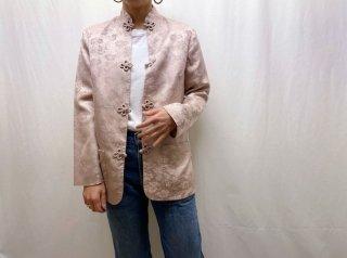 60s- Grayish Beige Mandarin Collar Silk Jacket