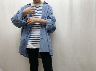 80s Hyacinth Blue Oversized Silk Shirt