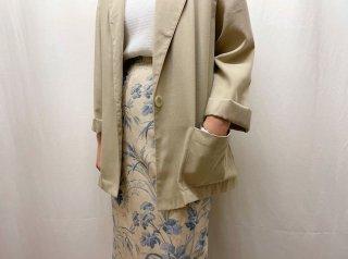 Oatmeal Blue Botanical Linen Silk Tight Skirt