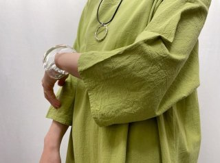 Pistachio Green Cotton Linen Smock Dress