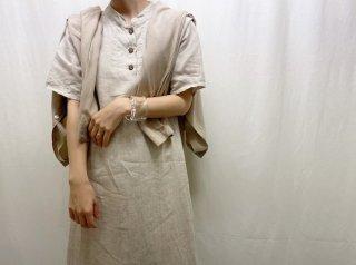 90s- Oatmeal Linen Half Sleeve Maxi Dress