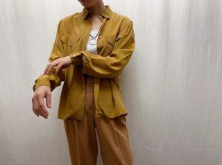 80s- Ocher Flap Pockets Silk Blouse