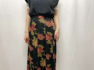 Black Floral Switching Long Skirt