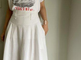 80s- White High Waist Designed Cotton Flare Skirt