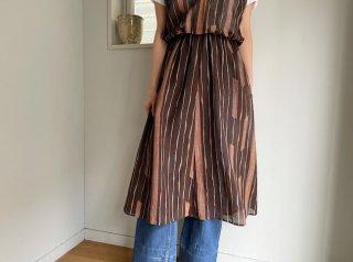 70s- Brown Abstract Pattern Sleeveless Sheer Dress