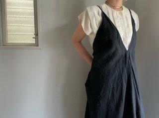 Black Linen Unusual Cut Camisole Dress