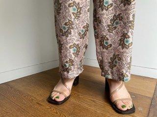 Pink Beige Botanical Pattern Silk Pants