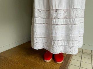 80s- White Lace Cotton Maxi Skirt