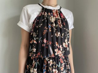 90s- Black Floral Rayon Camisole Maxi Dress